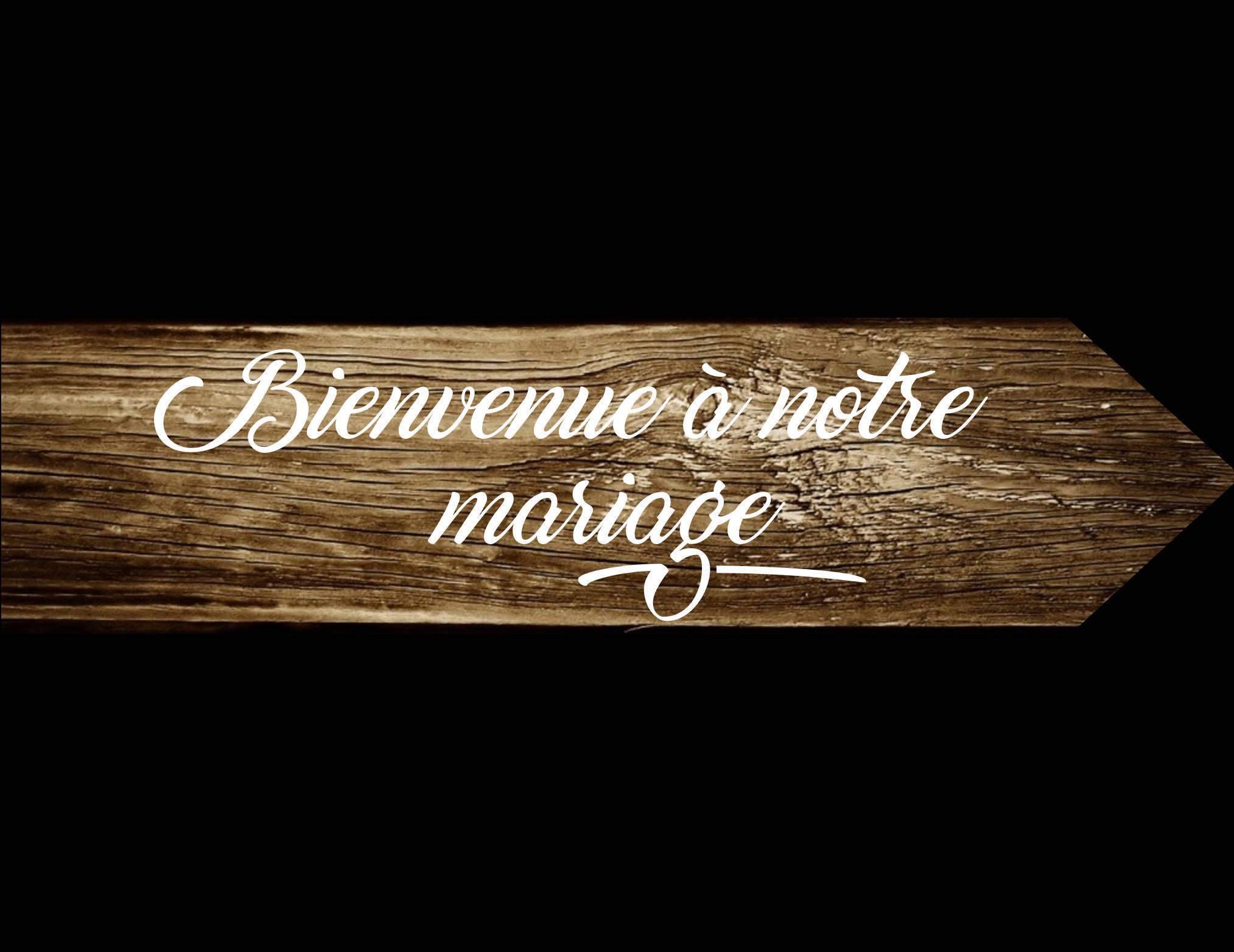 Pancarte directionnel Bienvenue à notre mariage, panneau flèche, bois de palette, peint à la main