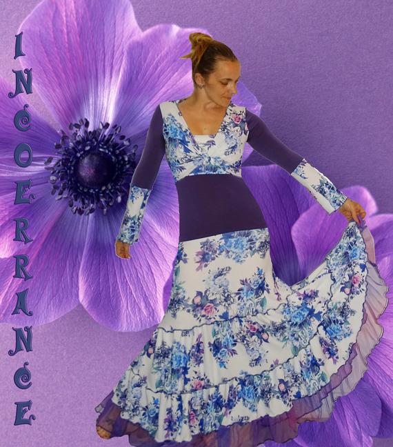 Robe longue et boléro  '  Purple flowers...'