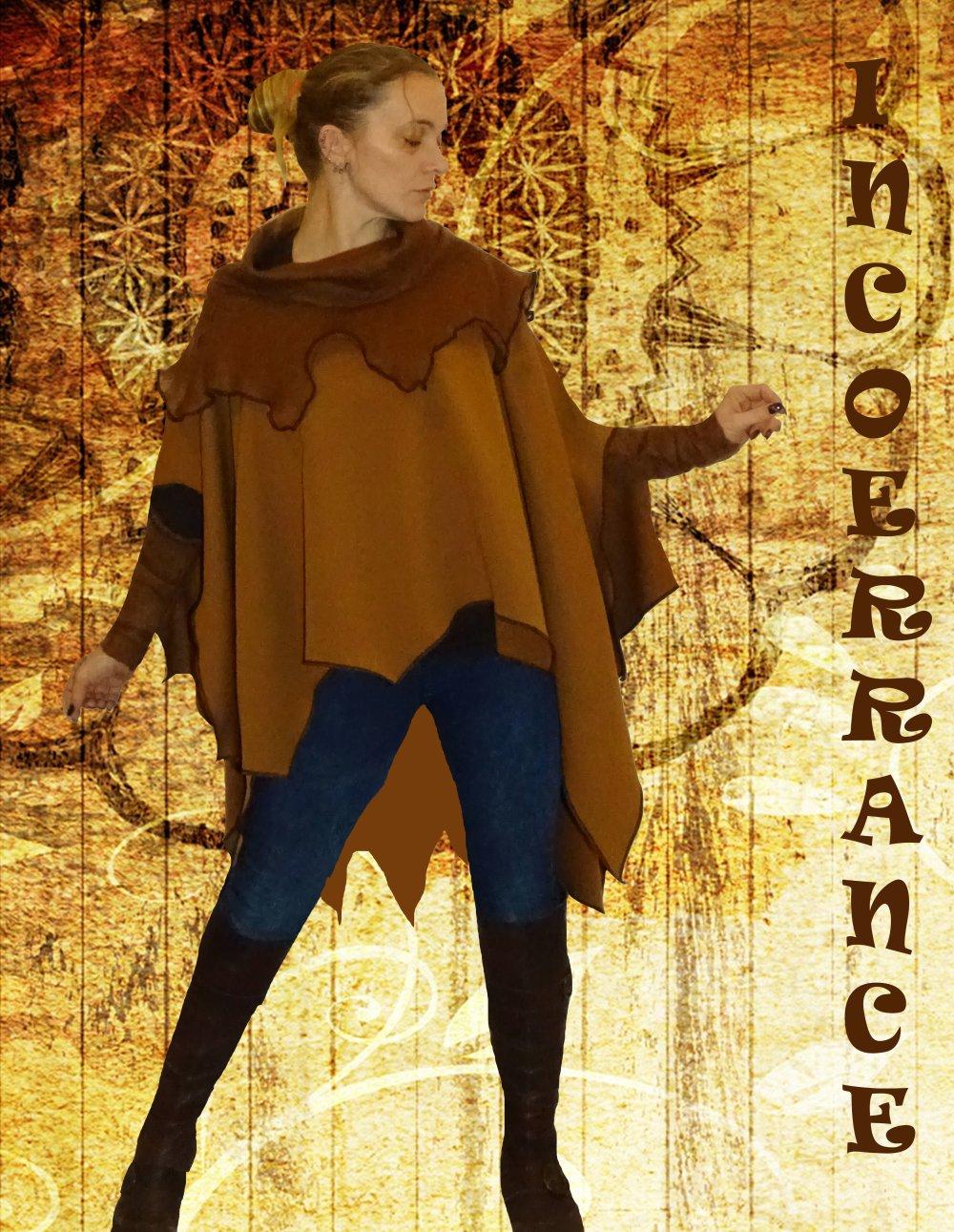 Poncho asymétrique , cape en maille lainage stretch ' CARAMEL..'