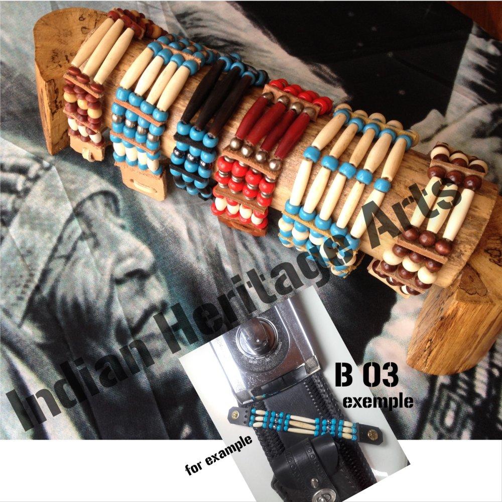 Bracelet Amérindien, 3 rangs, SUR COMMANDE à personnaliser - cuir, os, perles de verre, perles métal : Ref : B 03