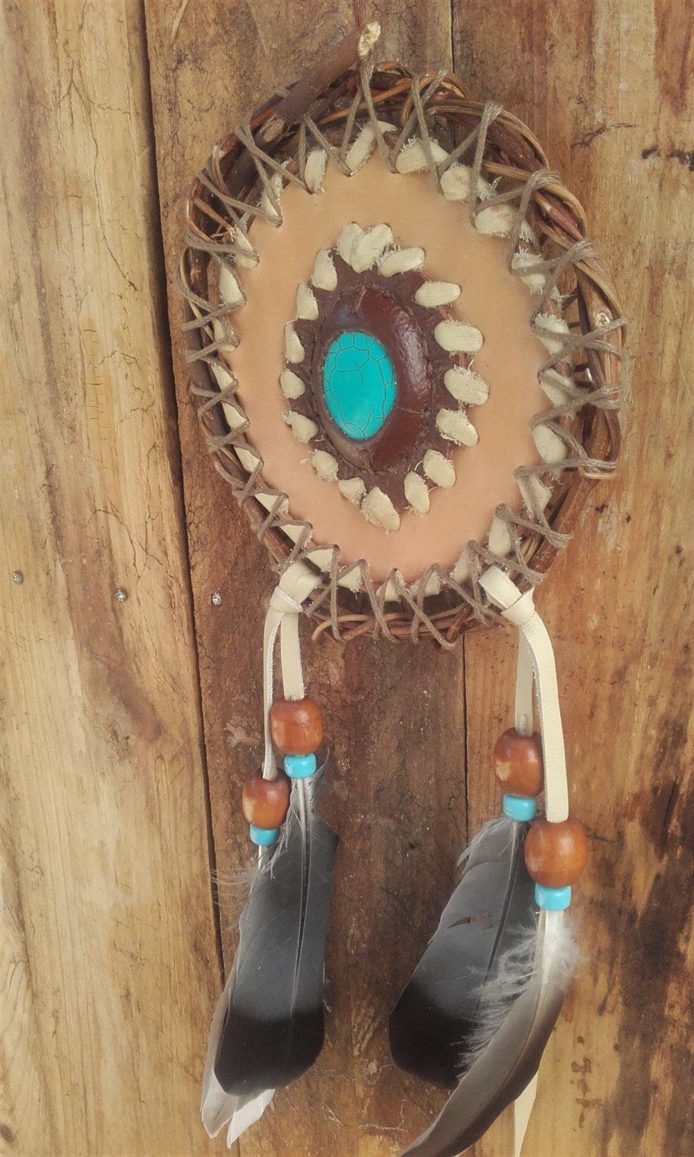Bouclier de protection - mandella style Amérindien - turquoise -  ref: M 200501