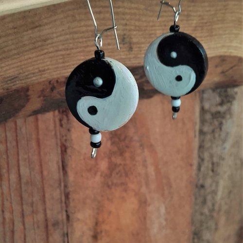Boucles d'oreilles yin yang - ref: bo 5 yy1