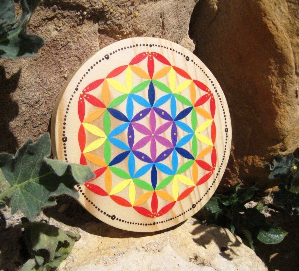 Fleur de Vie bois chakras multicolore Pin 21cm