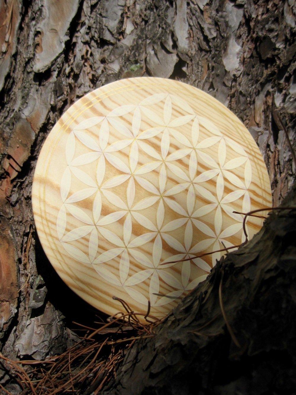 Fleur de Vie beige et Or en bois, Pin 21cm