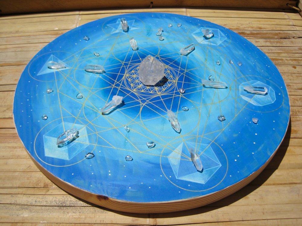 Cube de Métatron Fleur de Vie solides de Platon bois 33cm bleu