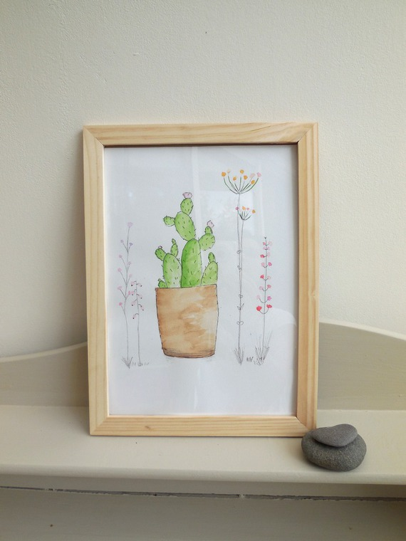 Aquarelle originale style scandinave, affiche cactus