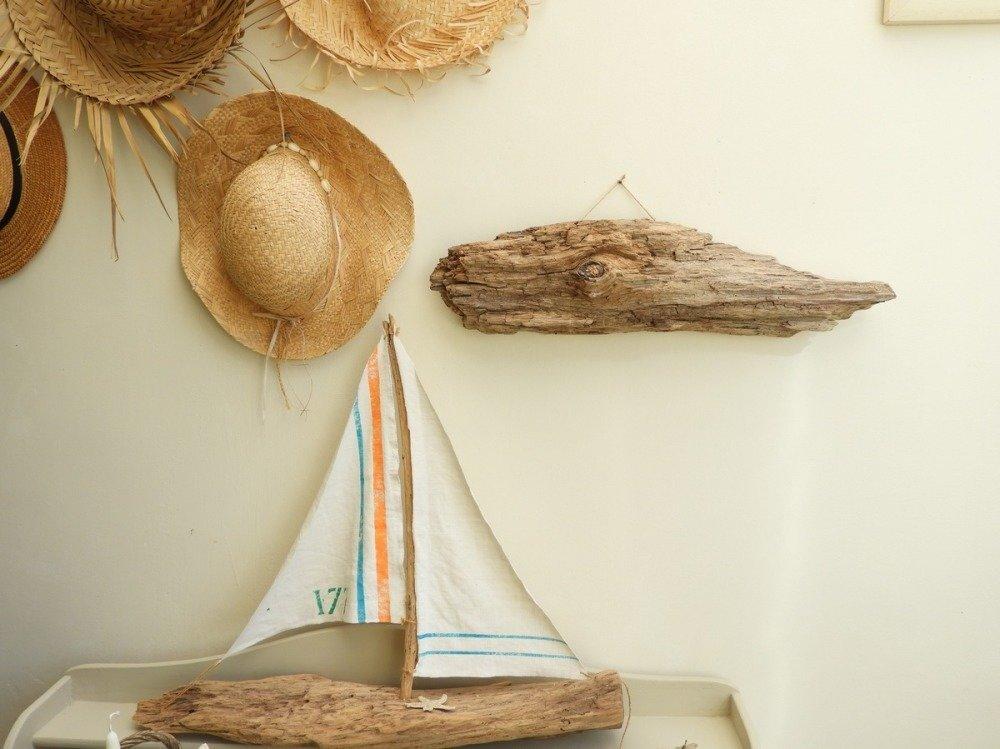 Décoration bord de mer- Sulpture poisson bois flotté- Art en bois flotté