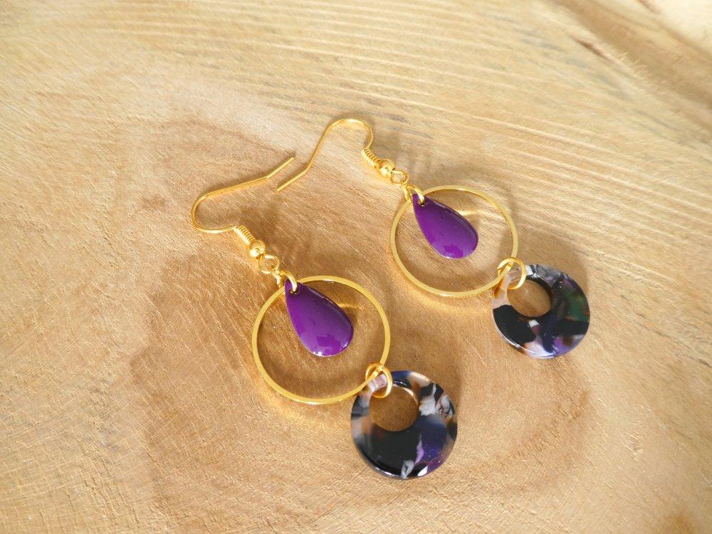Boucles d'oreilles doré et violet - sequin goutte émaillé, rond donut en acétate /écaille de tortue