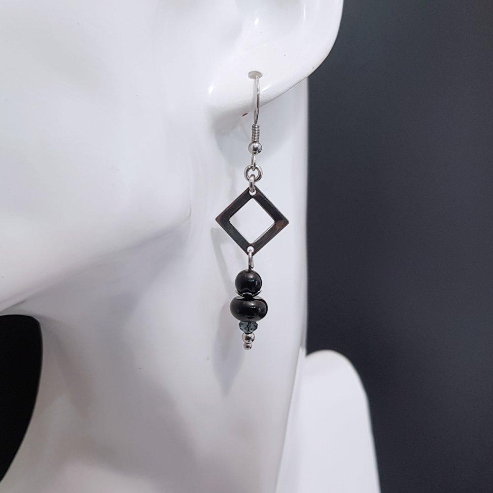 Boucles d'oreilles onyx noir, boucles d'oreilles longues, bijoux en perle onyx