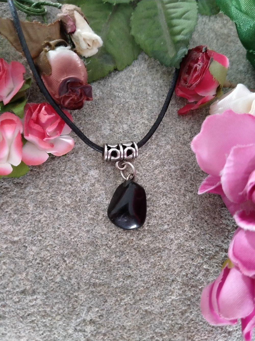 collier pendentif tourmaline noire, collier pendentif pierre naturelle