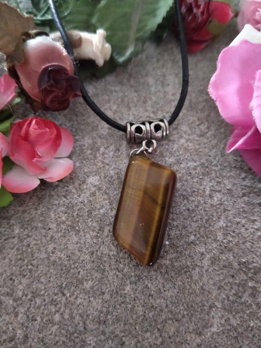 collier pendentif oeil de tigre, collier pendentif pierre naturelle