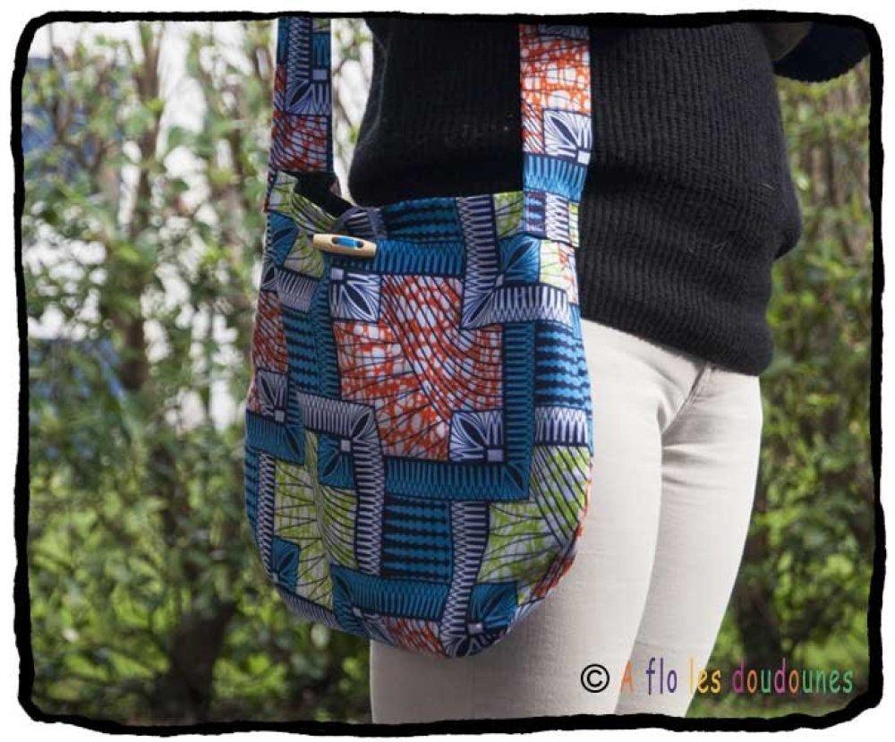 Tissu De La Reunion sac à main, besace, sac bandoulière, tissu wax coloré de l'ile de la  réunion / style afrique, ethnique