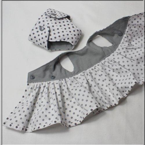 Patron robe cache coeur et couche poupée, poupon et peluche 30/34 cm