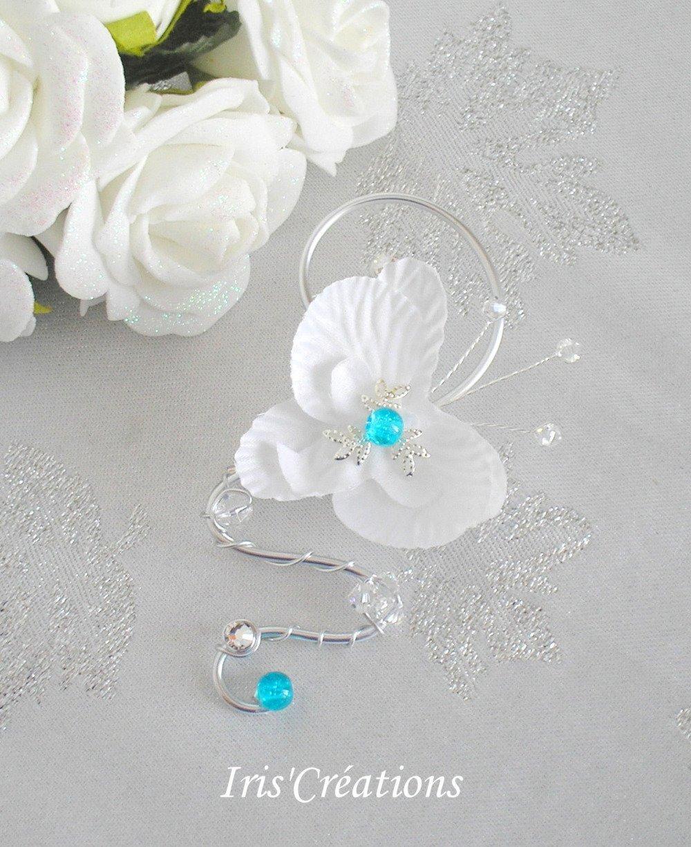 Boutonnière Homme ref Baccarat orchidée perles en verre craquelées turquoise  toupies cristal et strass de swarovski