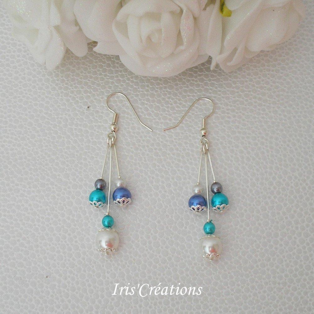 Boucles d'oreilles Laurélla perles blanches turquoise bleues royal et gris foncé