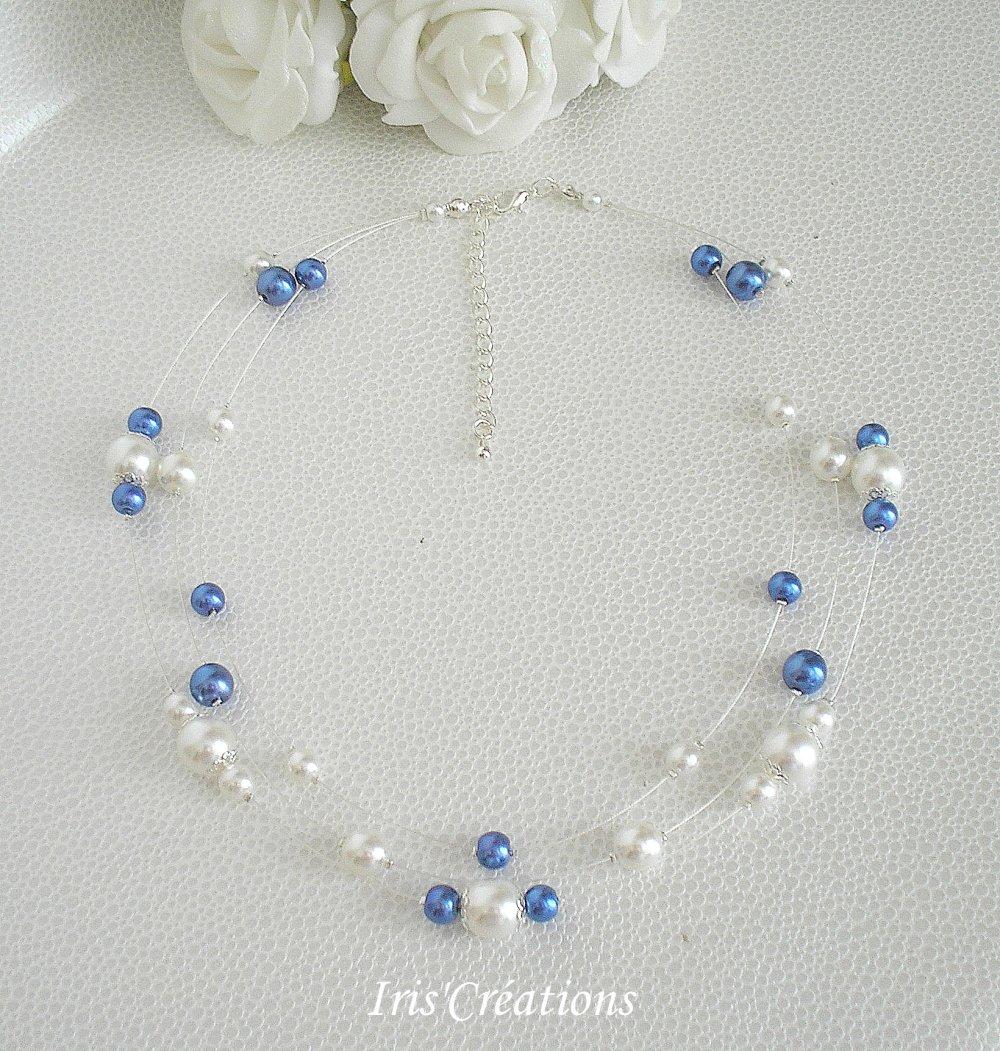 Collier mariage Nouméa perles blanches et bleues royal