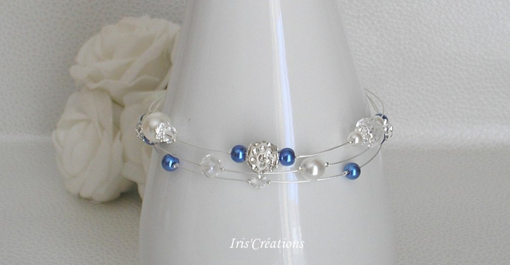 Bracelet Mariage Romancia blanc bleu roy cristal de swarovski et strass