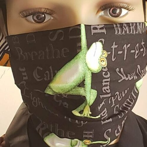 Masque grenouille yoga, masque lavable afnor, masque tissu lavable france