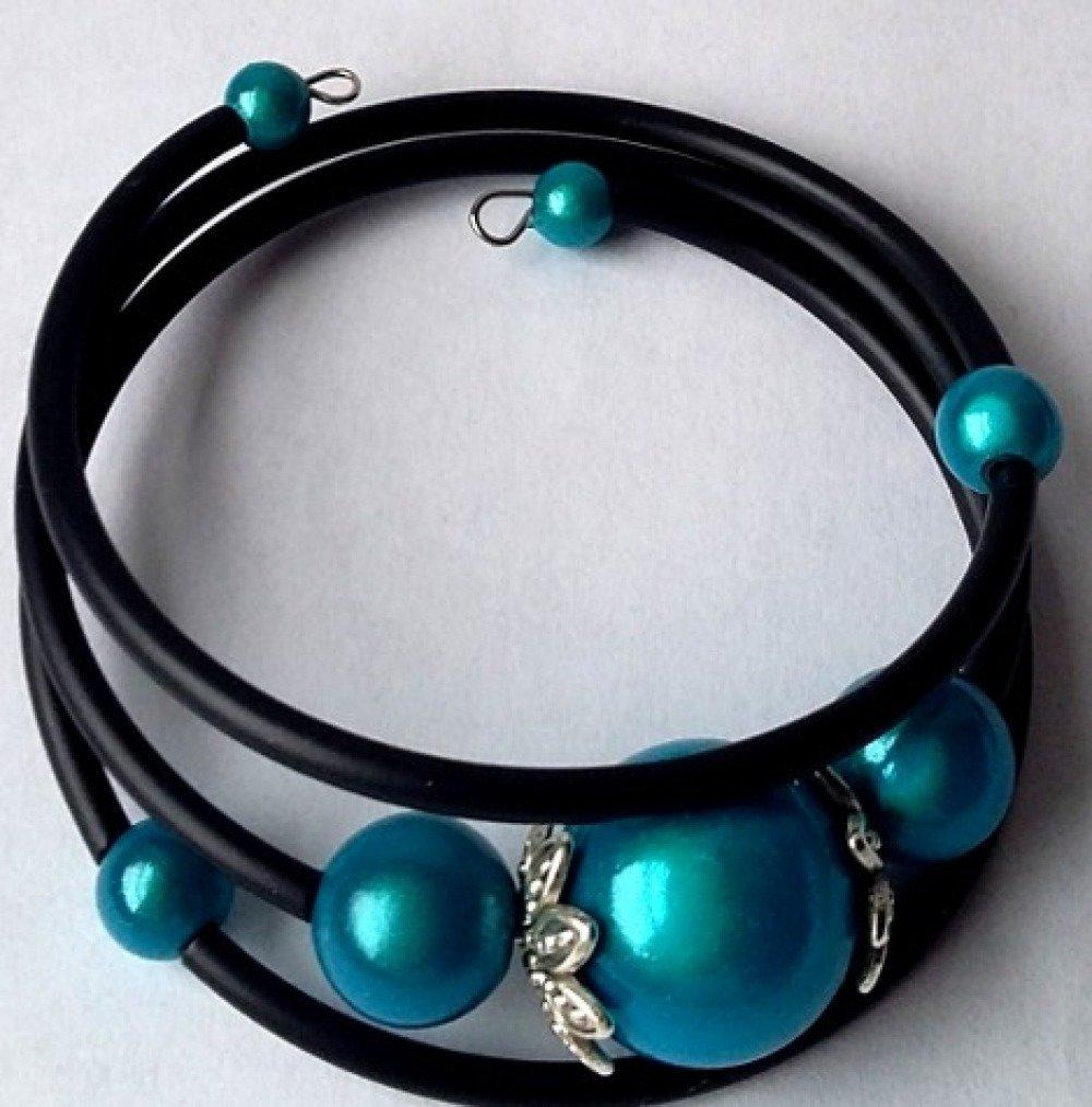 Bracelet buna cord et perles magiques bleues