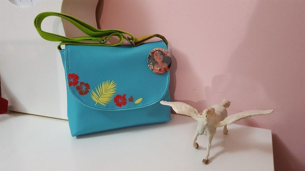 * sac bandoulière M enfant fille simili cuir turquoise fleurs exotique inspiré de Vaiana ou oum le dauphin