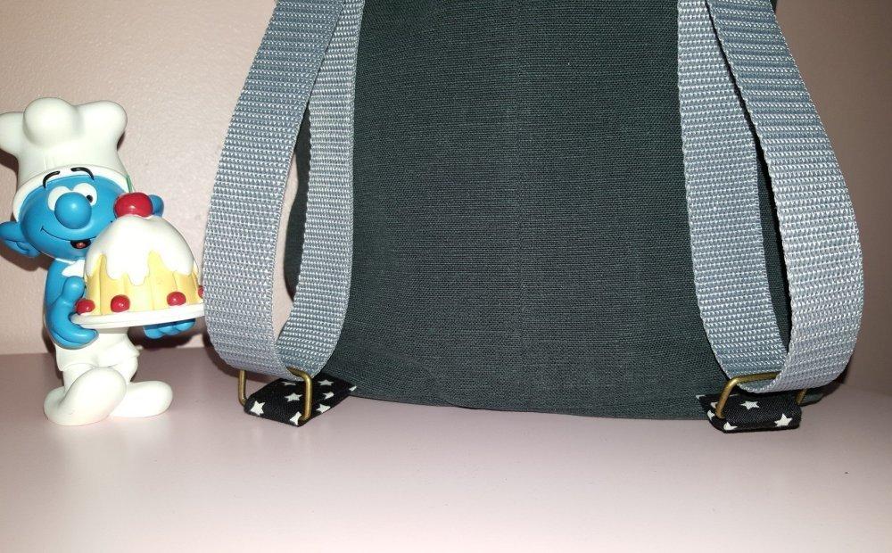 sac à dos personnalisable prénom initiales fille toile coton tissu au choix (scandinave formes géométriques...)