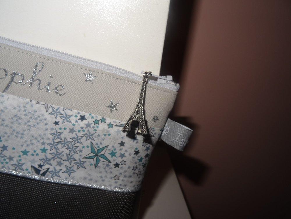 trousse de toilette personnalisable prénom initiale ,simili cuir et tissu au choix (liberty tendance, géométrique...)