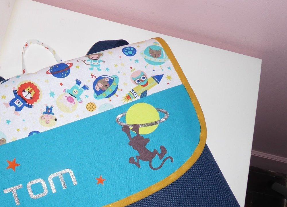 cartable GF maternelle personnalisé prenom toile et tissu au choix ( garçon, espace, animaux....)