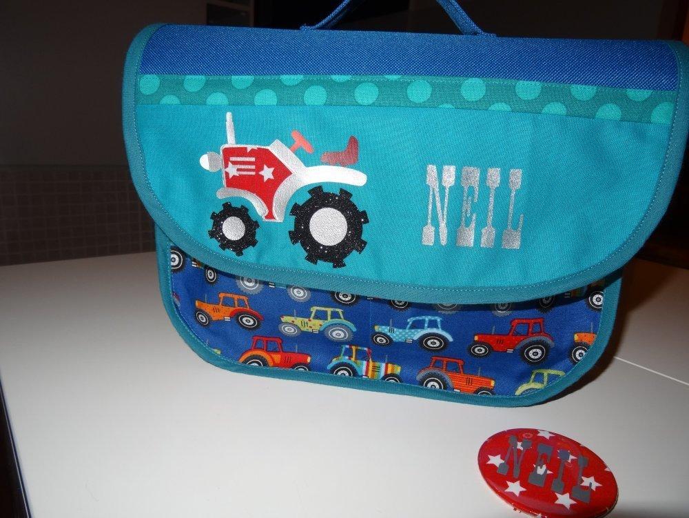 cartable maternelle M personnalisé prenom toile et tissu au choix ( garçon, liberty, voiture, cow boy, cheval, far west, cars ....)