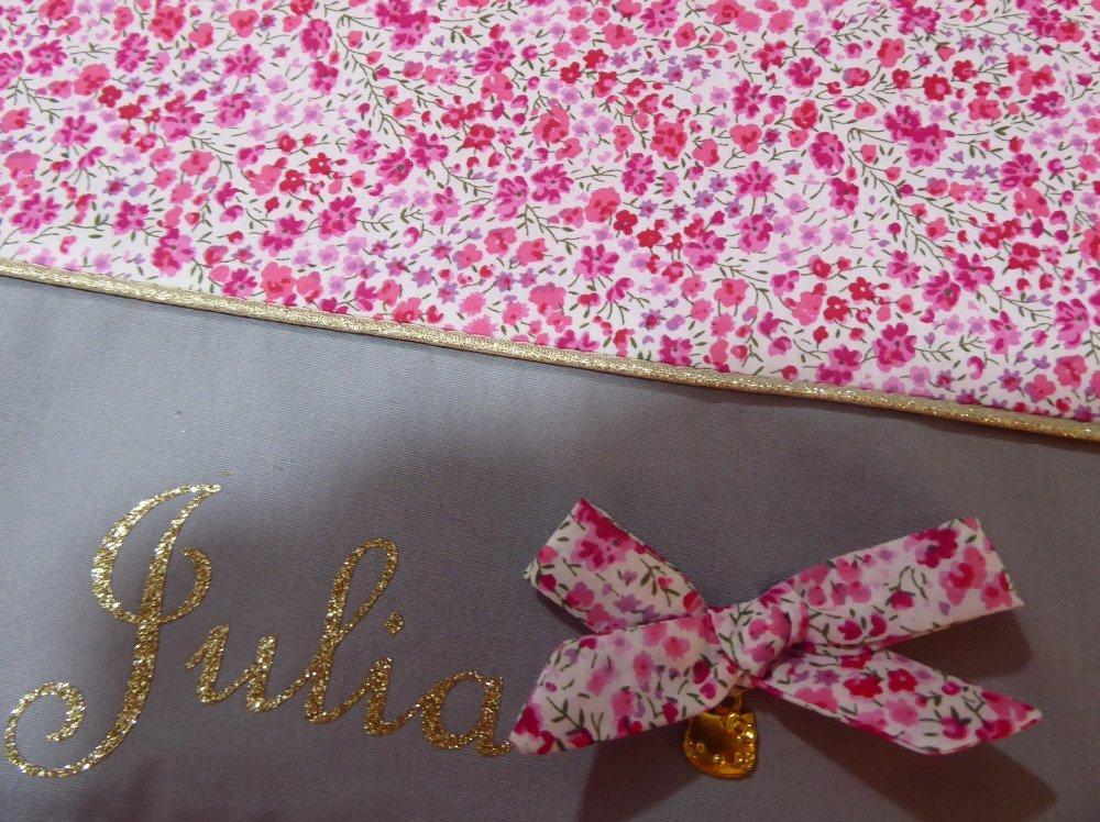 cartable GF maternelle personnalisé original prenom toile et tissu au choix ( fille, liberty, fée, rose prune ....)