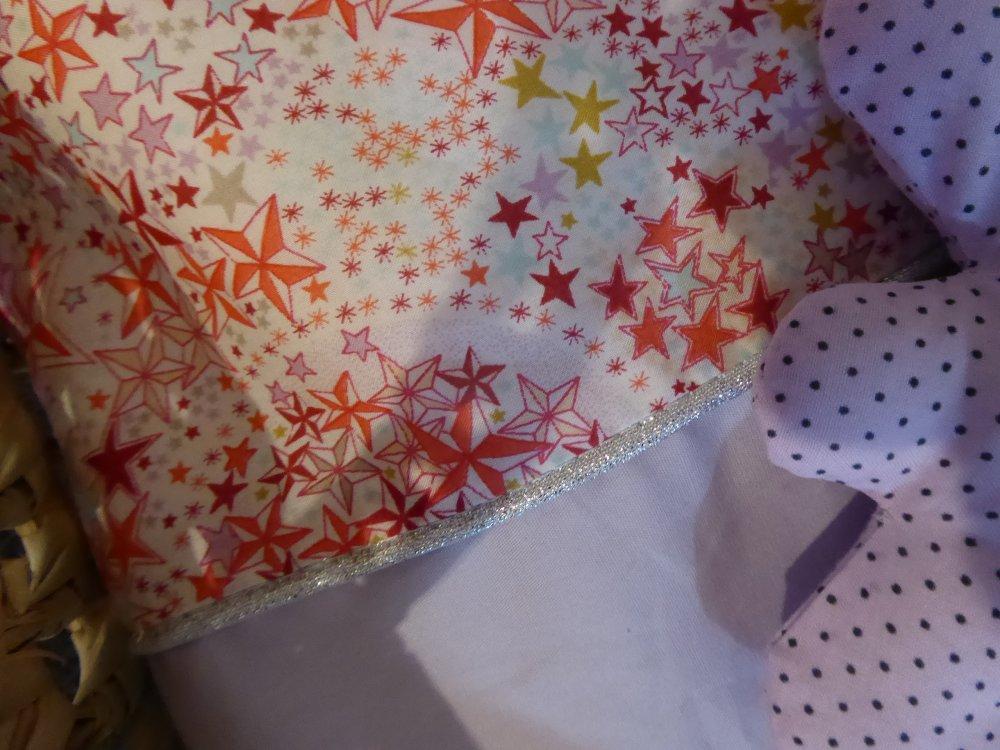 * couffin poupée 20 à 30 cm parure de lit liberty adelajda et coton uni parme (oreiller doudou couverture poupon...)