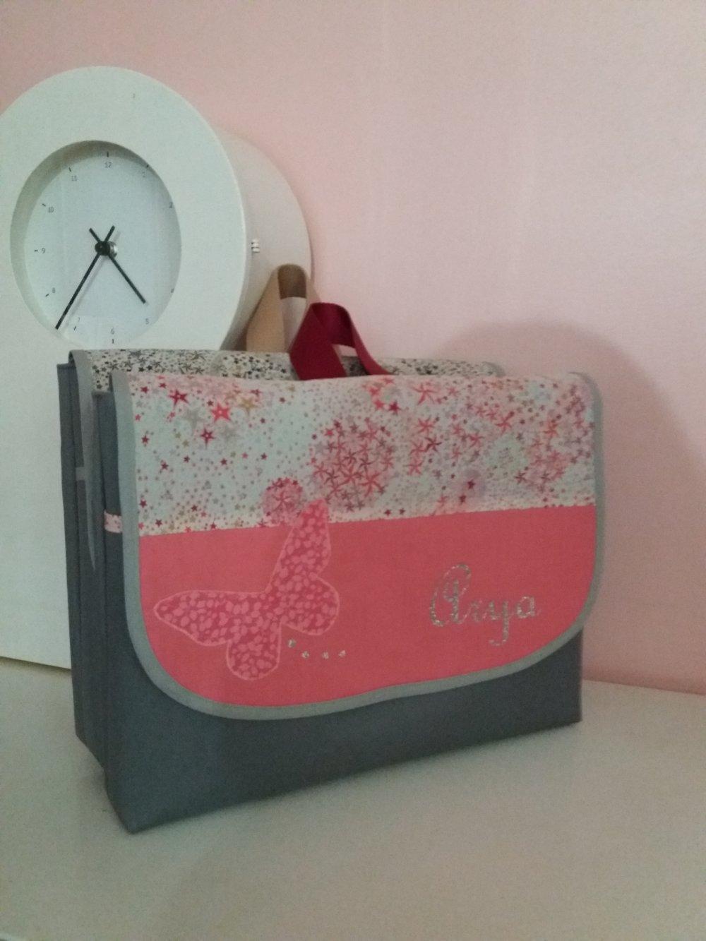 sac à dos maternelle format  A4 cartable fille PERSONNALISABLE  GF tissu toile motif au choix liberty ....