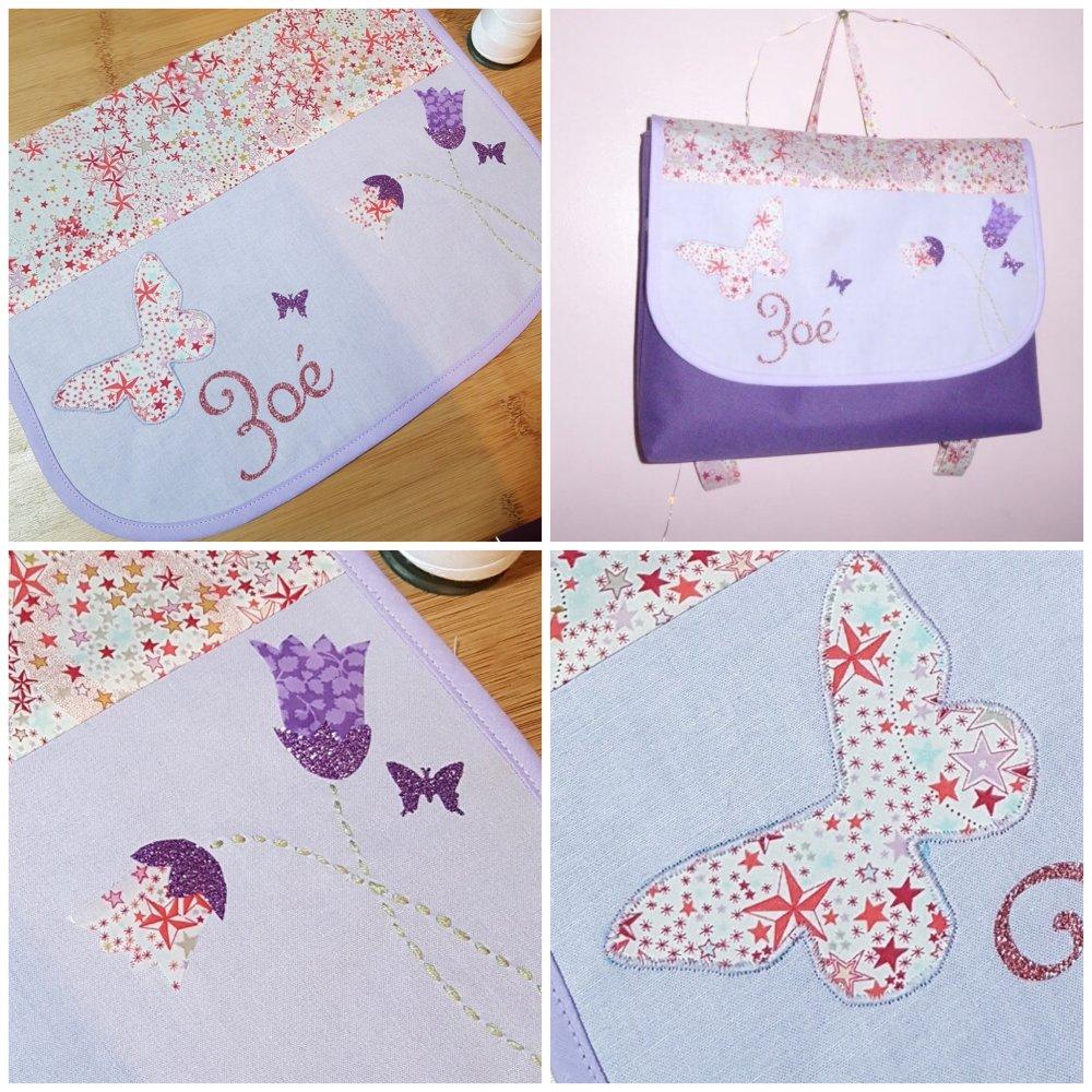 Cartable maternelle personalisable fille GF ( liberty, violet, fleuri, papillon....)