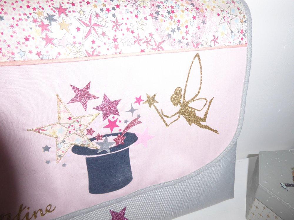 Cartable maternelle personnalisé fée magie  couleur motif au choix format A4 cartable fille  GF tissu toile motif au choix liberty ....