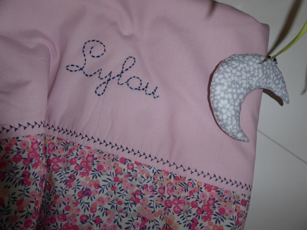 couverture bébé  personnalisée en liberty ... tissu au choix en coton fait main liberty lilas