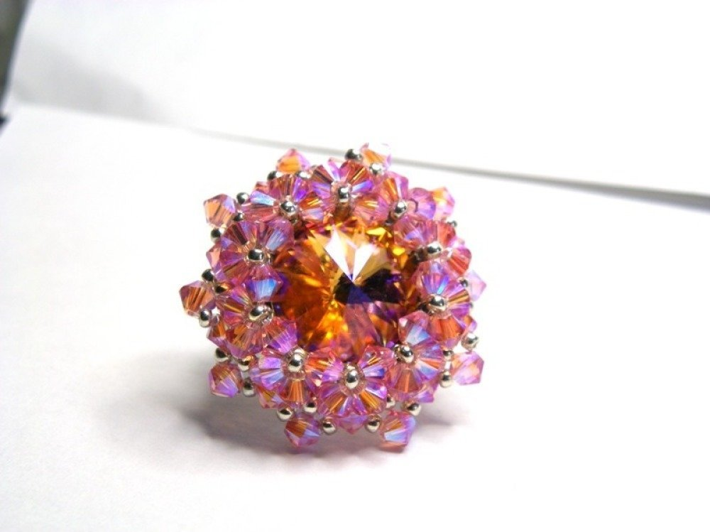 Bague cristal Swarovski marron ambré rose clair ab2x finitions argentées