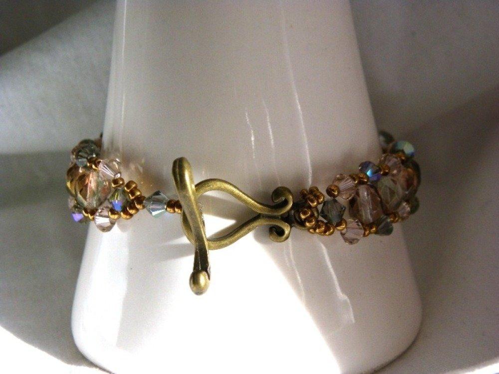 Bracelet cristal Swarovski gris fumé rose vintage strass fermoir métal bronze doré 19 cm création unique idée cadeau