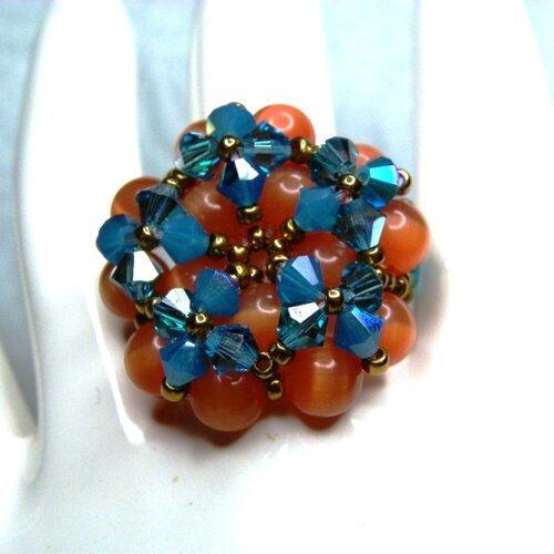 Bague cristal swarovski, bleu turquoise, oeil de chat, corail ...