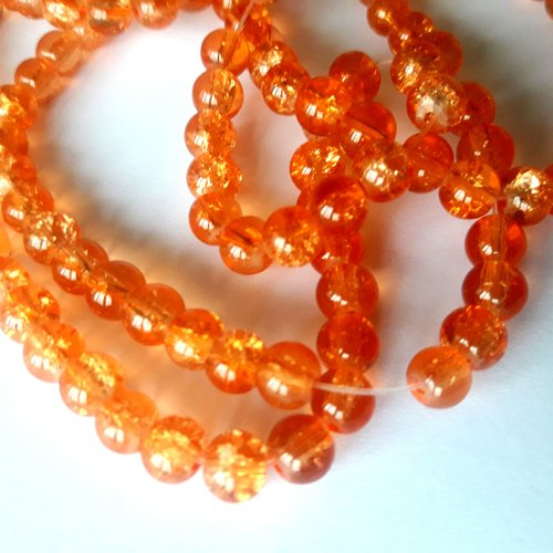15 perles en verre - orange- craquelées 6 mm t31