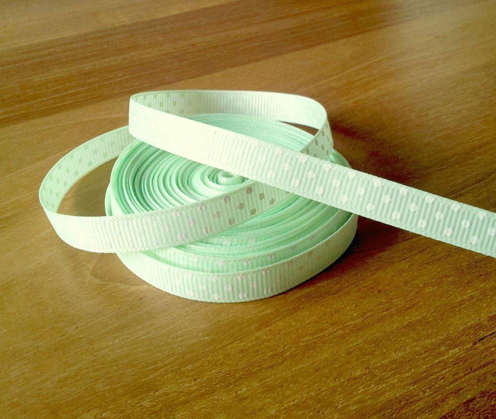 1 mètre de ruban vert d'eau à pois blancs 10 mm - T2