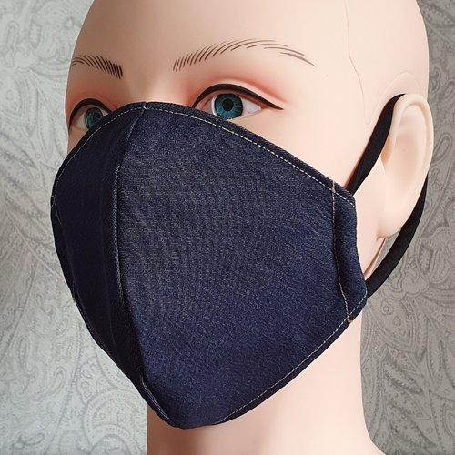 Masque de protection en tissu bleu jean - jean brut