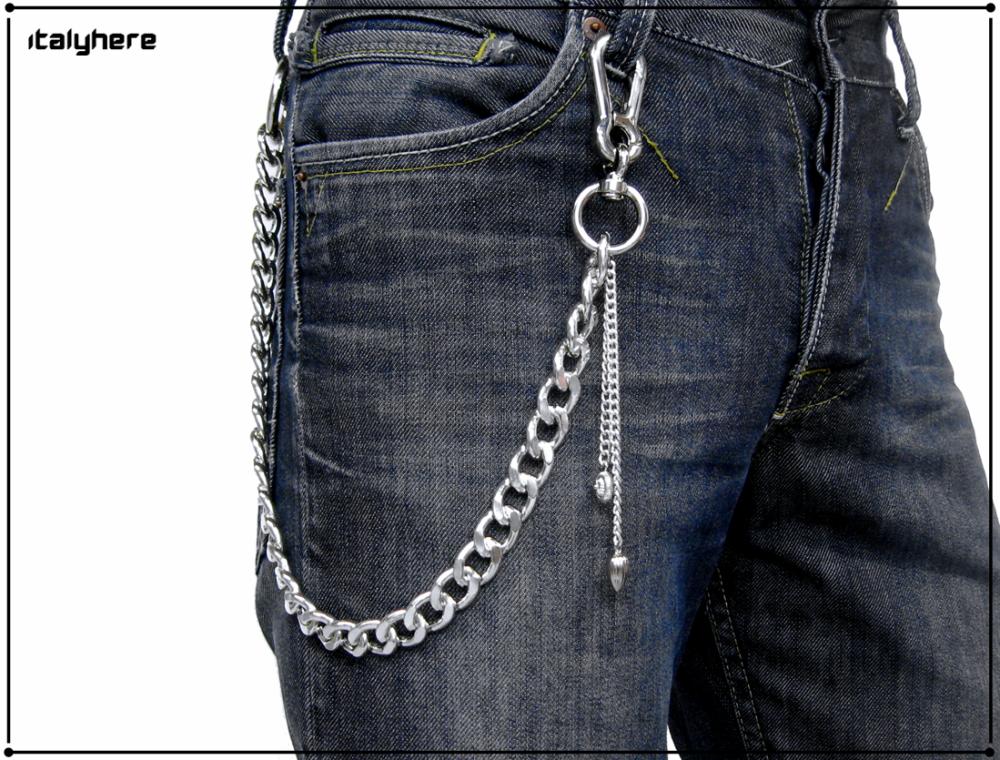 Chaîne pour pantalon, couleur argent, avec chaînes et pendentifs - 55 cm.