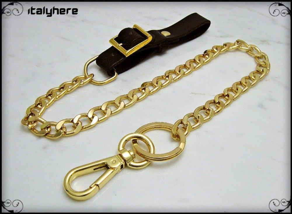 Chaîne de pantalon, pull gourmette de couleur or, ceinture de cuir ajustable, longueur 52 cm, idée cadeau - Italyhere
