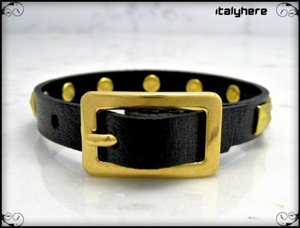 Bracelet unisexe en cuir véritable avec des clous pyramidaux or, 5 couleurs disponibles