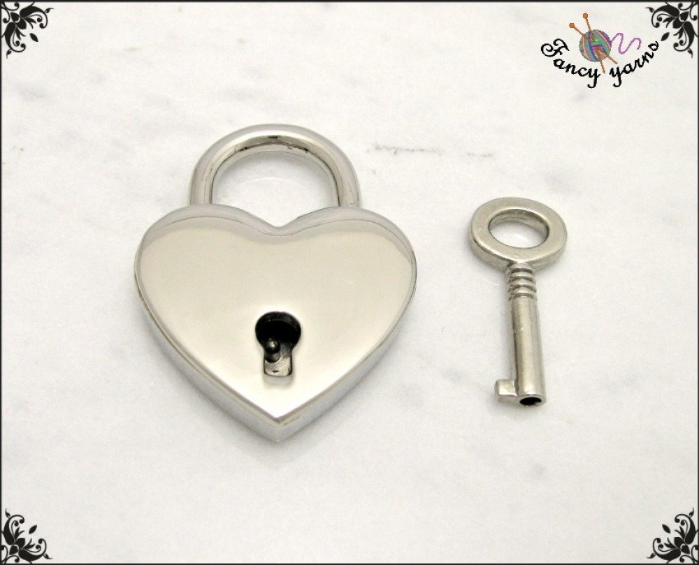 Serrure de coeur, 39 mm. couleur argent, idée cadeau romantique