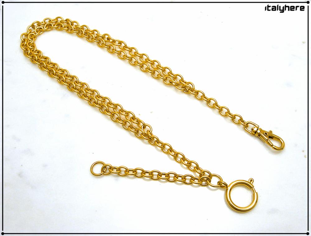 Chaîne de montre de poche, modèle forcé, double chaîne avec chaîne pour pendentif, cm. 35 - fixation avec mousqueton.