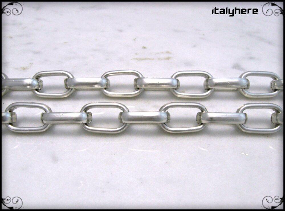 Chaîne pour pantalon, modèle à double chaîne, couleur argentée, avec large anneau chromé - 55 cm.