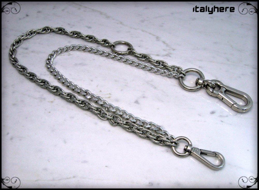 Chaîne pour pantalon, double chaîne, motif cordon, modèle gourmette, couleur argent avec anneau chromé - 63 cm.
