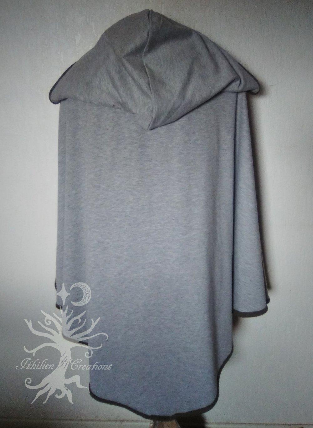 Cape en coton à capuche gris clair