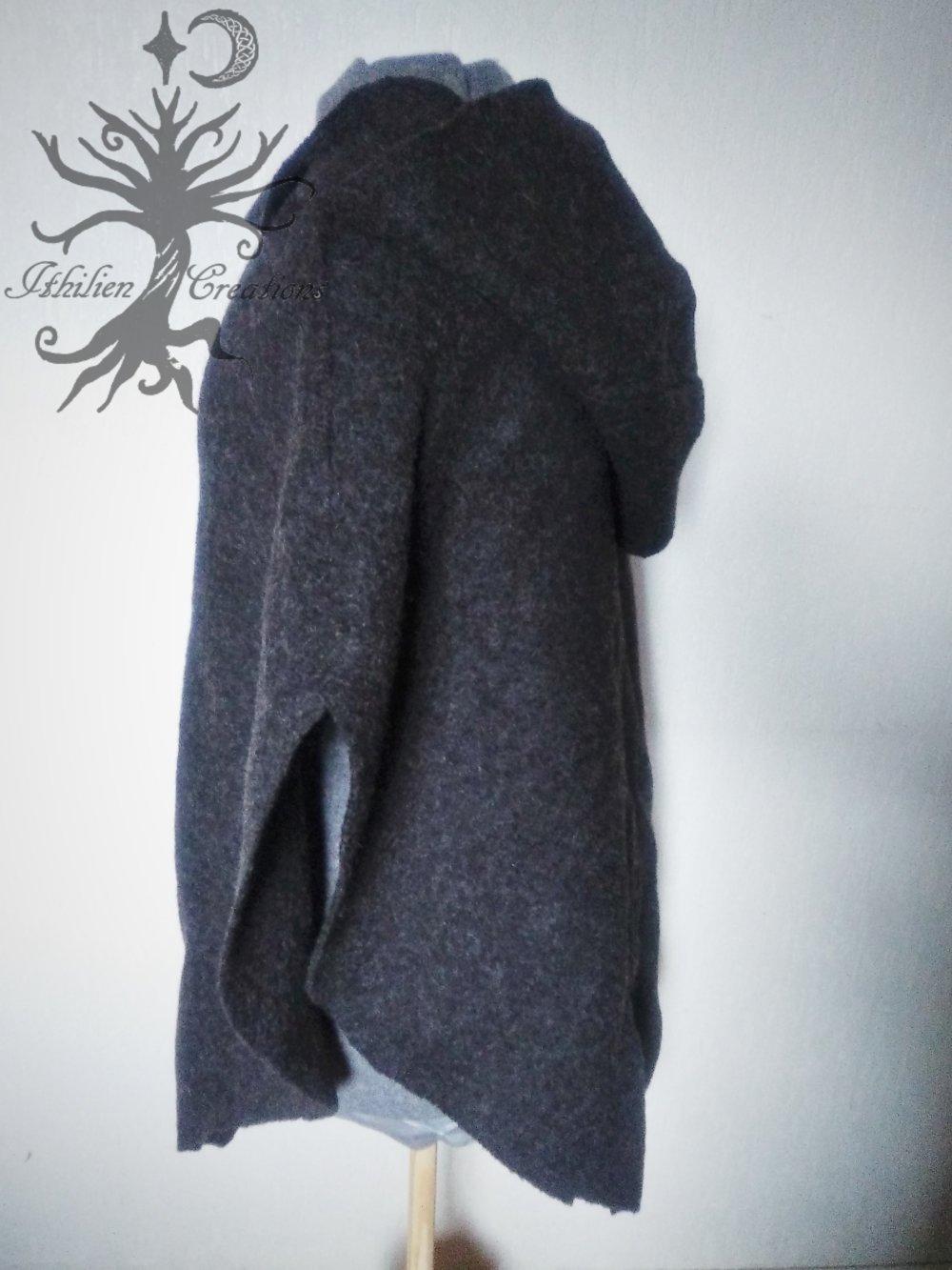 Poncho à capuche gris foncé 100% laine
