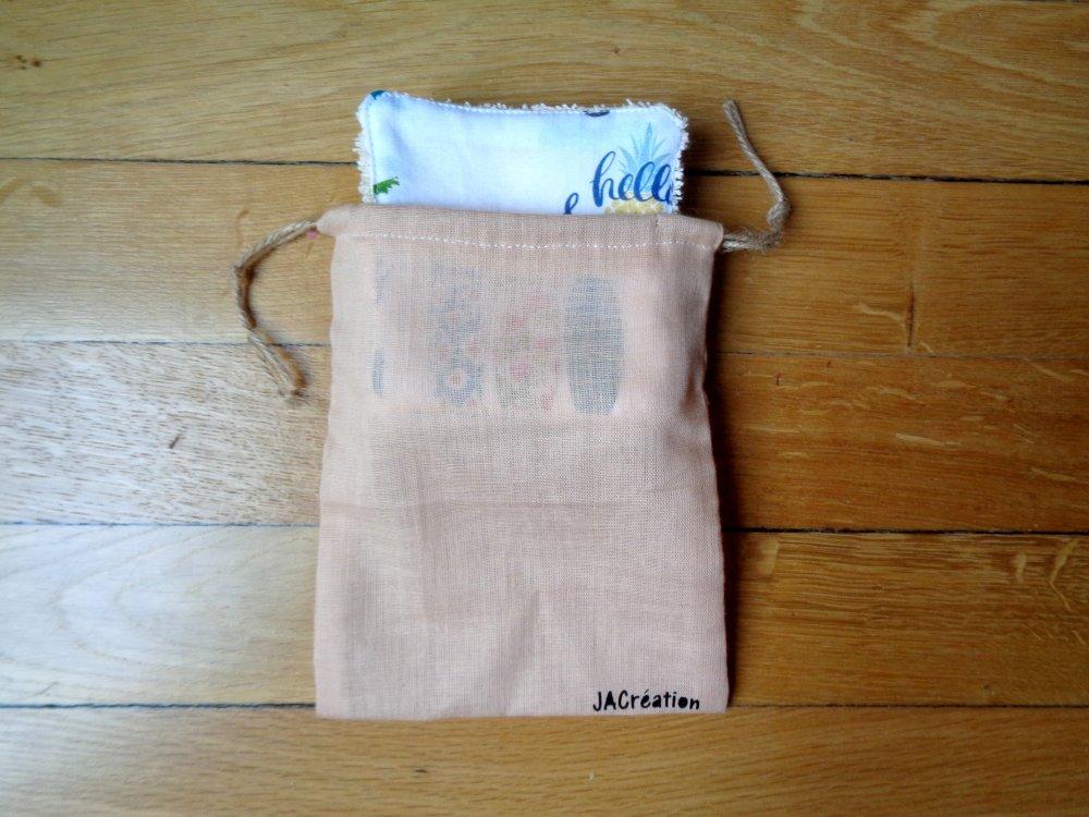 6 Lingettes en coton beige avec pochon